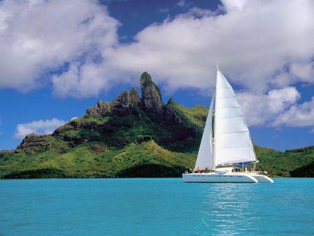 Catamaran - ocean, lagoon, french polynesia, nature, polynesia, catamaran, french, ship, bora bora, beach, landscape