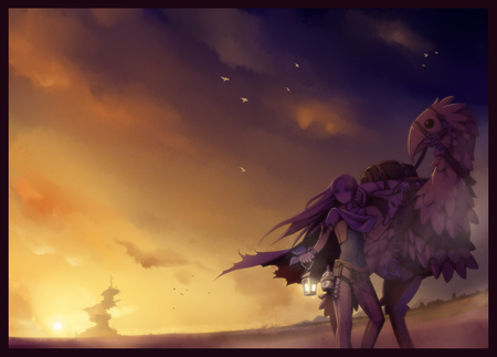 Celes And Chocobo Final Fantasy Anime Background