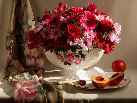 Beautiful - peaches, vase, gebreras, plate, fruits, flowers, silk, silverware, white, pretty, red, beautiful, roses