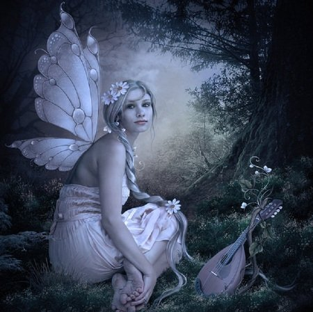 Wings of Nacre - female, grass, mandolin, beautiful, artwork, faerie, tree, fantasy, flowers