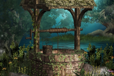 Fantasy Well - watering, grass, peaceful, lake, tree, magic, forest, stone, well, flowers, colors, bucket, water, nice, trees, woods, beauty, fountain, beautiful, lovely, fantasy, drawing, pretty, green, art, artwork, draw well, garden, leaves