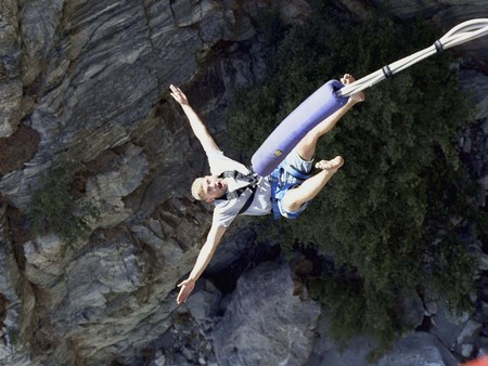 Bungee Jumping - canyon, woman, bungee jumping, nature