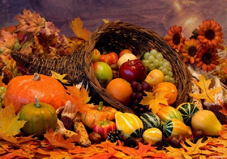Festive fall - pumkins, cornucopia, fall, oranges, fruits, sunflowers, orange, apples, grapes, leaves, beautiful