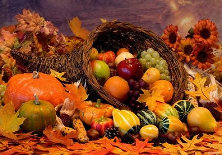 Festive fall - cornucopia, grapes, fall, oranges, apples, beautiful, orange, pumkins, sunflowers, leaves, fruits