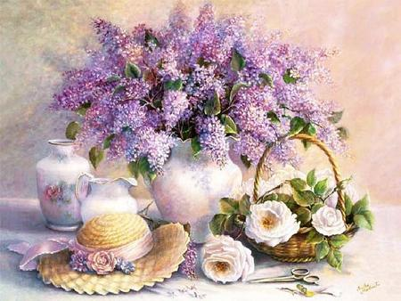 Lilacs and Camellias - table, ribbon, scissors, camellias, pitcher, vase, lilacs, peonies, hat, still life, purple, basket, painting, white