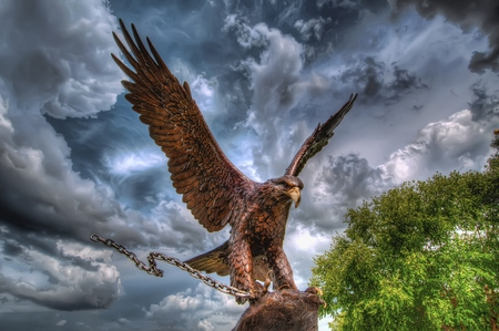 Eagle - birds, sky, colors, tree, chain, trees, bird, eagle, beauty, statue, beautiful, clouds, green, leaves