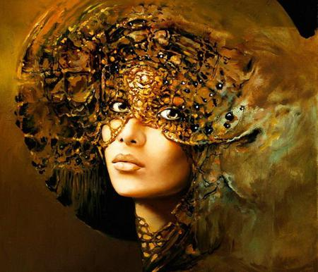 beautiful people - karol bak, face, painting, art, amber