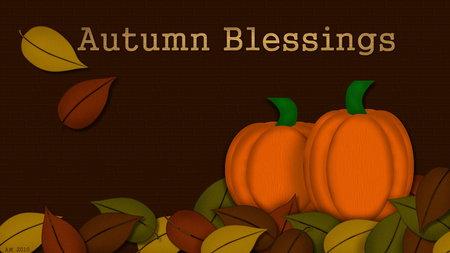 Autumn Blessings - autumn, cg, fall, nature, pumpkin, leaf, seasons, thanksgiving, leaves