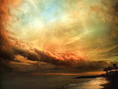Sky artistry - colored, blue, white, sky, water, gold, orange, shoreline, clouds, reflections