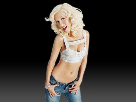 Saucy Miss - blonde, hipsters, top, jeans, cute, white