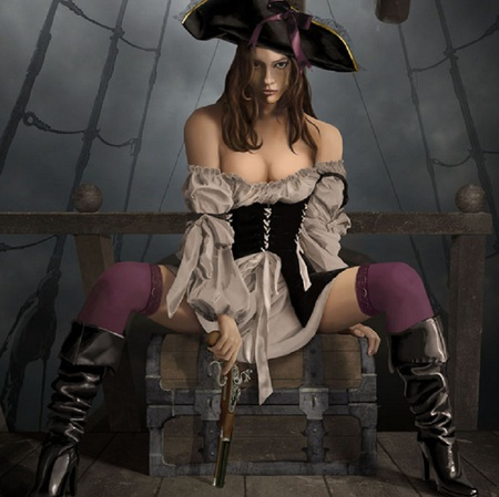 Anne Bonney? - hat, pirate, rigging, boots, chest, female, fantasy, gun