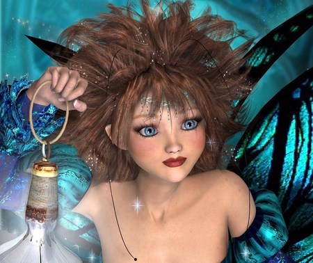 Little Blue Eyed Fae - faerie, tiny, lantern, blue eyes