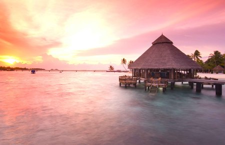 Maldives At Sunset - maldives, sunset, hut, ocean