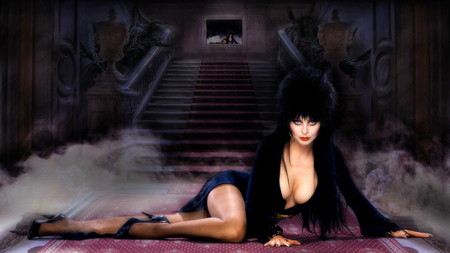 Mistress of the Dark - cassandra peterson, mistress of the dark, trick or treat, halloween, elvira, 1080i, wallpaper, 1080p, 1920 x 1080, entropy