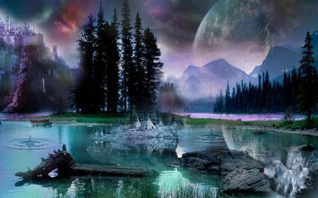 Spirit Island - moon, space, spirit, mountains