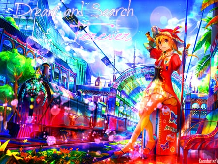 Dream and Search Forever - vehicle, dress, house, scenic, transport, plant, animal, clock tower, fantasy, city, train, anime, tower, hot, anime girl, scenery, train station, female, cloud, town, transportation, sky, sexy, hat, building, cute, tree, girl, bird, flower, scene
