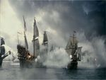 The Spanish Armada being attacked