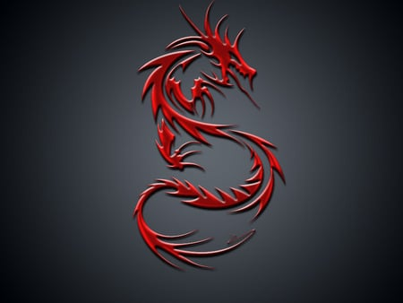 Red dragon - red dragon, abstract, dragon, red, fantasy