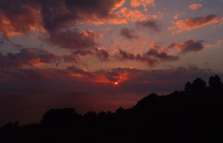 Elba Island Italy - sunset, blue, pink, trees, serene, patterns, red, silhouette, orange, clouds, grey