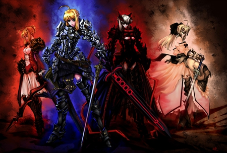Sabers - saber, fate stay night, dark saber, anime, saber lily