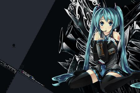 Hatsune Miku - pretty, musical instruments, virutal diva, nice, anime, aqua, beauty, vocaloids, twintail, skirt, black, miku, sexy, cute, headset, hatsune, cool, awesome, idol, hatsune miku, gray, headphones, turquoise hair, beautiful, thighhighs, instruments, hot, blue eyes, blue, vocaloid, female, diva, microphone, girl, blue hair