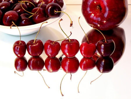 Cherries - photography, apple, fruit, abstract, red, reflection, cherries, cherry, delicious, fruits