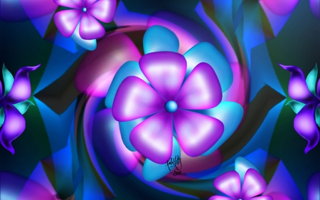Flower Odyssey - red, odyssey, flower odyssey, lavender, teal, green, fractal, painting, color, fractals, flowers, pink, blue, airbrush, paint, digital painting, colors, purple, flower, digital