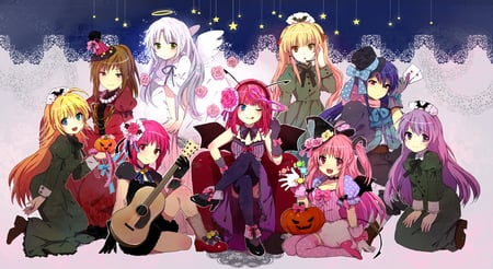 Angel Beats! Halloween - witch, dress, rose, halloween, gray hair, bow, ribbons, hisako, flowers, long hair, blue eyes, pink eyes, shiina tomako, wings, yusa, hat, guitar, pinkhair, red eyes