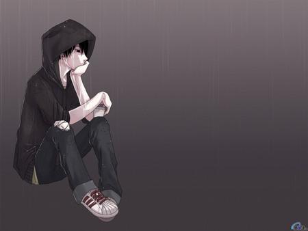 Boy Drench in Rain - hd, 3d, boy, alone, 1600x1200, rain