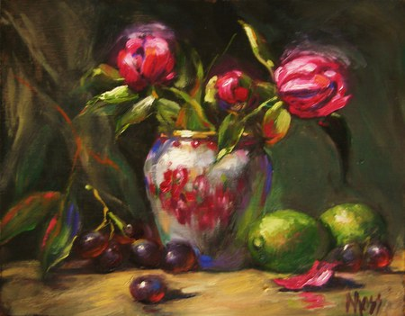 Old Fashion Pleasures - red, limes, vase, floral, grapes, leaves, antique, green, purple, flowers, tulips, display