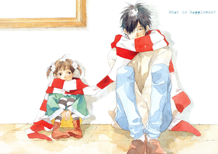 What is Happiness? - family, girl, bond, anime, happiness, scarf, man