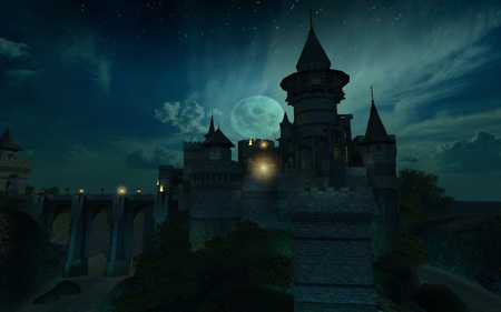 Ancient Castle - moat, castle, knight, bridge, dark, 3d, midieval, cool, ancient, moon, screenshot