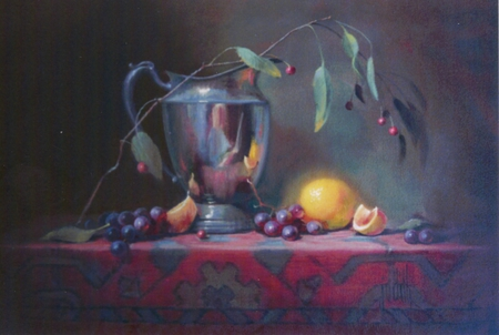 The Artist - lemons, berries, twig, table, pitcher, floral, grapes, cloth, leaves, red, stainless