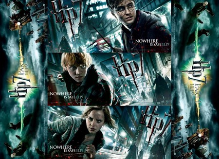 Deathly Hallows New Banners - ron, harry, hermione, darklord