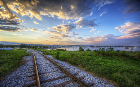 Sunset Tracks - sunset, train, ocean, tracks