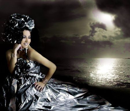 NIGHTLIGHT OVER OCEAN - dress, romantic, ocean, nightlight, black, white, happy