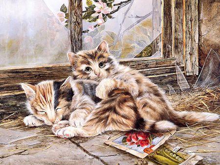 Hugging cats - animal, drawing, kitten, cat