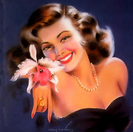 Dazzling Carmen - model, dark brown hair, dazzling smile, orchid, painting, yellow diamond ring, pearls, nosegay, red lips