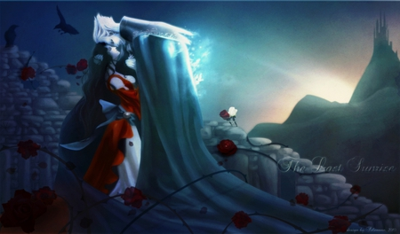 the love of a vampire - vampire hunter d, anime, wallpaper, couple