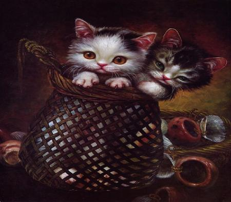 Room for Two - ornaments, baskets, painting, kittens, adorable, shells