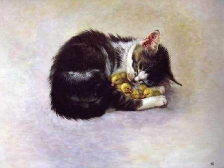 Staying Warm - comfort, painting, adorable, ducklings, kitten