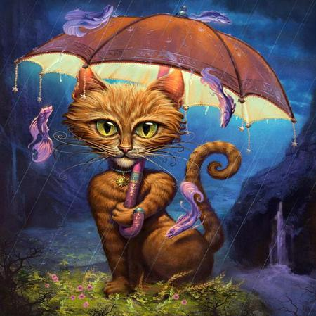 Don't Get Wet - fishes, grass, raindrops, umbrella, cat, water, mountains, painting, waterfall, flowers