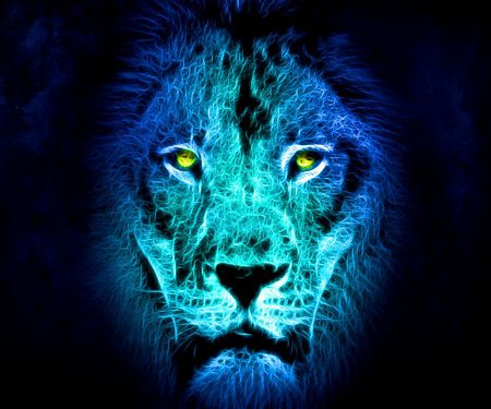 Lion In Blue Light Cats Animals Background Wallpapers On Desktop