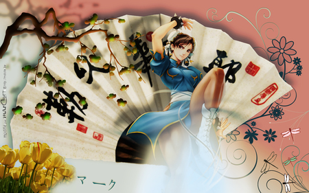 Chun Li - wings, chinese, video game, abstract, anime, fighter, cute, flower, tulip, sexy, street fighter, fan, female, dragon fly, oriental, game, hot, wing, fantasy, girl, chinese word, anime girl, yellow tulip