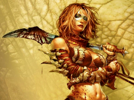 Fantasy warrior woman - beauty, warrior, woman, fighter