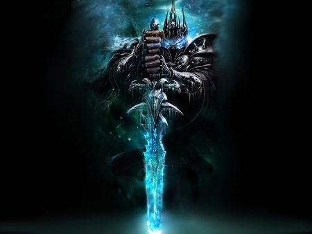 the lich king - king, lich, blue, sword