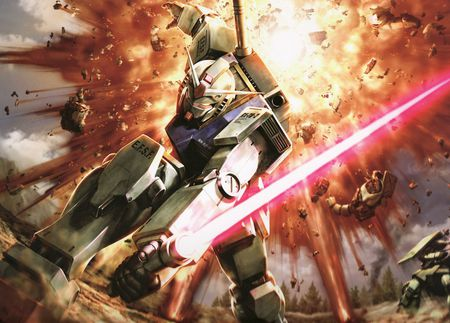 A Gundam In Action - gundam, mech, wing, anime
