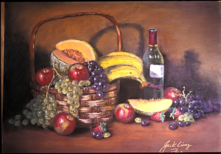 Fruit With Wine - life, bottle, apples, wine, fruits, bananas, still, cantalope, grapes, basket