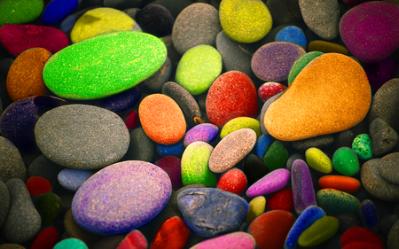 pebbles - color, rainbow, abstract, nature