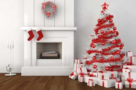Christmas Tree - red, pretty, christmas tree, interior, beautiful, magic, xmas, picture, fireplace, photography, ball, decorations, beauty, room, red white, lovely, holiday, christmas, living room, new year, happy new year, gift, tree, merry christmas, balls, 2011, white, gifts